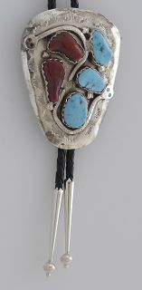 Effie Calavaza Zuni Serpent Bolo Tie Coral Turquoise