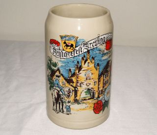 Large German Ironstone Beer Stein Mug with Logo