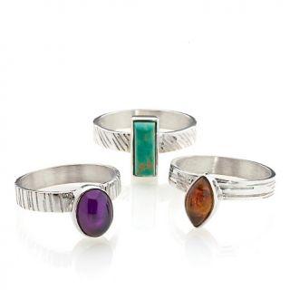 Jewelry Rings Gemstone Jay King Multigemstone 3 pc Stackable Ring