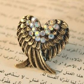Design Retro Personality Lovely Angels Wing Fashion Ring 5095