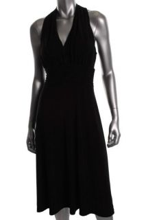 Evan Picone NEW Between The Lines Black Halter Cocktail Evening Dress