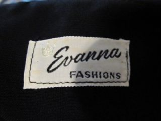 Vintage 1940s Evanna Fashions Crepe Semi Sheer Black Short Sleeved