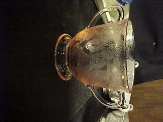 Macbe Evans Pink Depression Glass Dogwood Sugar Bowl