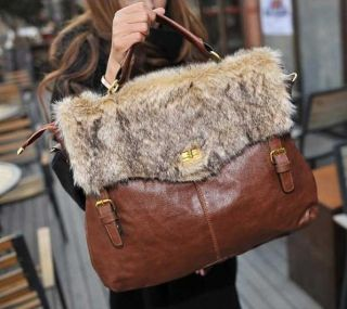 Beautiful Faux Fur Women Messenger Satchel Shoulder Purse Handbag Tote