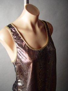 Glam Snake Skin Reptile Metallic Black Sheer Lace Back Evening Tank