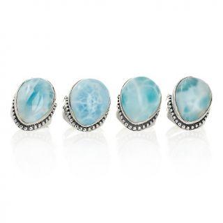 Jewelry Rings Gemstone Sajen Silver Pear Shaped Larimar Sterling