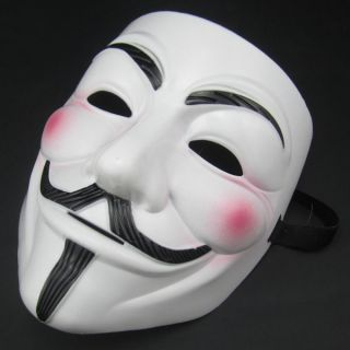 Movie Costume White Mask Guy Fawkes Anonymous Halloween Cosplay