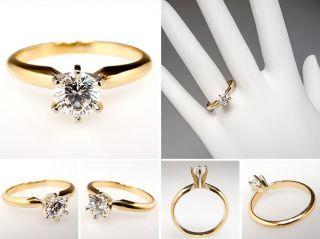 Carat Diamond Solitaire Engagement Ring Solid 14k Gold Fine Estate