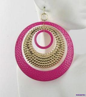 Extra Large Embossed Pink & Gold Mobile Hoops Hoop Pierced Earrings