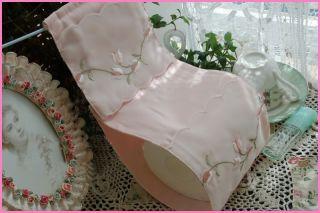 Elegant Embroidered Pink Toilet Tissue Holder Cover