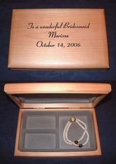 Personalized Engraved Wood Jewelry Box Bridesmaid Maid of Honor Gift