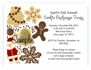 Custom Holiday Christmas Cookie Exchange Swap Party Invitations