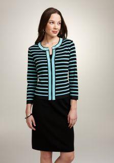 Exclusively Misook Womens Striped Zip Cardigan Jacket   Petite