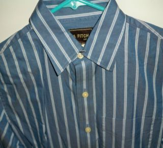 New Mens Ezra Fitch Long Sleeve Shirt Blue with Stripes Size Small NWT
