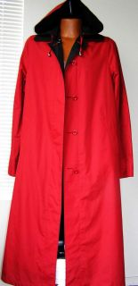 Ensign Womens Red Black Reversable Hooded Raincoat Trench Coat M 10 12