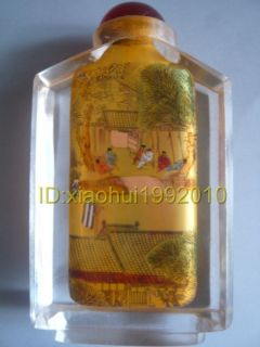 Chinese Person Inside Hand Painted Peking Glass Snuff Bottle