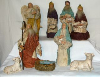 Paper Mache and draped Fabric Handmade Christmas 10 piece Nativity Set
