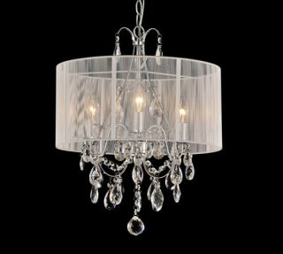WHITE DRUM SHADE CRYSTAL CHANDELIER LIGHT CEILING PENDANT