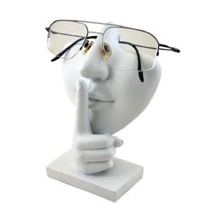 Keep A Secret Shh Gesture Face Eyeglass Sunglass Holder Display White