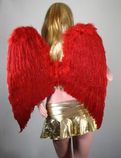 EXTRA LARGE RED Feather Angel Wings Photo Props Free Halo Halloween