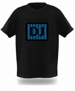Sound Disco Music Activated Equalizer LED T Shirt Rave Clothes