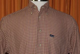 Faconnable Long Sleeve Light Brown Burgundy Red Checkered Shirt Mens
