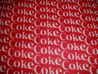 Coca Cola Coke Soda Pop Word Logo Flannel Cotton Fabric