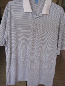 Mens Fairway Greene Pureformance Polo Golf Shirt Blue White Coolmax