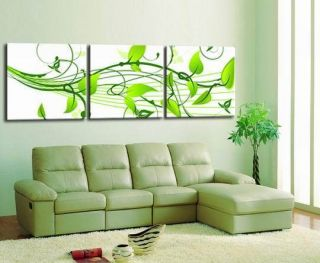 Modern Abstract Wall Art Oil Painting on Canvas Green Leaves No Frame