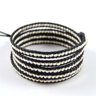 chan luu sterling silver black leather wrap bracelet
