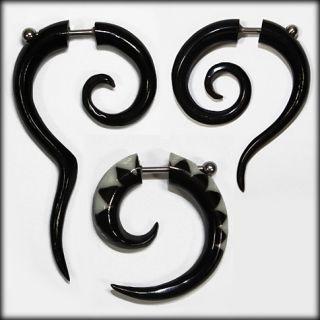 Handmade Bone Horn White Black Spiral Fake Gauge Earrings