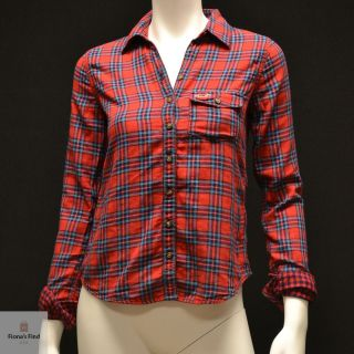 by Abercrombie Women Plaid Shirt Fallbrook Red Turquoise Plaid