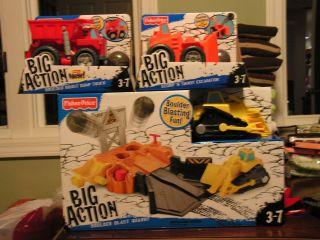 Fisher Price Big Action Boulder Blast Quarry Set w 3 Trucks Dozer