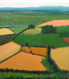 Jeff Tabor Rich Fields Original Acrylic Painting on Canvas, aerial