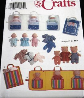 Soft Quiet Toy Pattern 8 Dolls Teddy Bear Family Tote Clothes