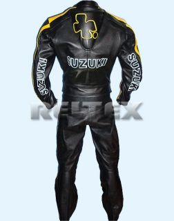 Rizla Black Yellow Leather Motorcycle Biker Jacket Pant 2 Piece Suit