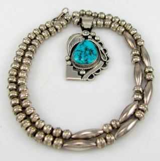 ERVIN TSOSIE Navajo Sterling Silver Morenci Turquoise Beaded Necklace