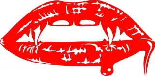 Vampire Fangs Vinyl Sticker Decal Red