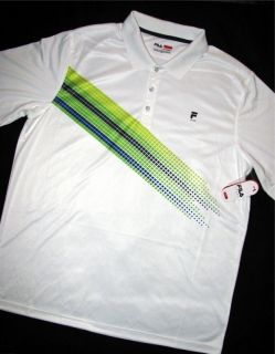 Fila Sport Golf Polo Shirt $50 Tennis Logo White Blue Grn Wicking New
