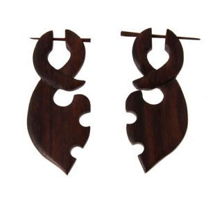 Organic Fake Plugs Hand Carved Wood Earrings Cheaters