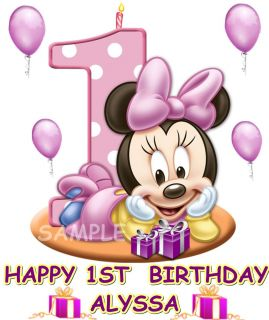 Baby Minnie Mouse 1st Birthday Edible Cake Topper Decorations Image