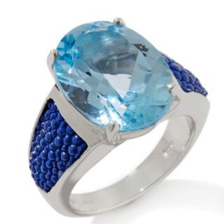 Best Selling HSN Chi By Falchi Oval Blue Topaz Stingray Sterling Ring