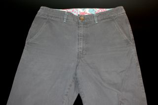 Bonobos Dove Grey Washed Distressed Cotton Pants Trousers Chinos 32 NR