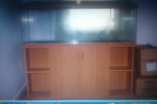 55 Gallon Oak Fish Tank Stand with Many Accessories