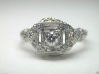 Antique Art Deco Diamond Engagement Ring Vintage Filigree Estate 18K