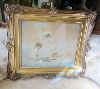 Lrg ANTIQUE Ornate GOLD GILT FRAME FISHEL ADLER SCHWARTZ V. Tojetti