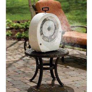 Hoseless TABLETOP MISTING FAN Outdoor Patio Lowers Temp 20* F Covers