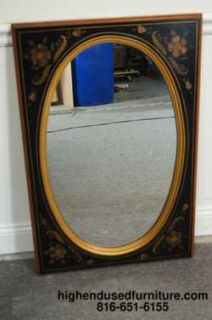 ETHAN ALLEN Black Hitchcock Hand Decorated Oval Mirror 14 9217