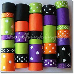 Halloween Solids Dots Grosgrain Ribbon Lot 32 yds