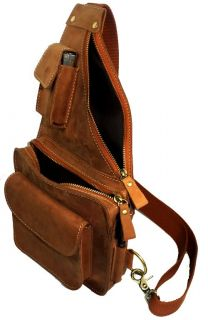 Cool Mens Bull Leather Fanny Travel Hiking Backpacks Shoulder Bags
